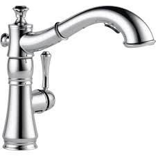 delta single hole kitchen faucet with pull out spray for