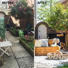 before and after making good use of a garden side return
