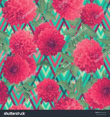 vintage floral pattern red dahlia on stock illustration 375662326