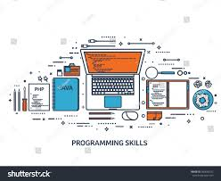 programmingcoding backgroundflat outline styleline art stroke