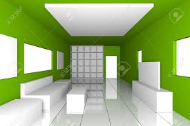 mock up for minimalist livingroom with green wall and tile floor
