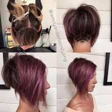 layered buzzed bob hair inverted bob cut shaved under purple lotus recherche google