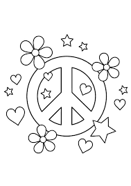 peace sign coloring pages hearts flowers stars coloringstar