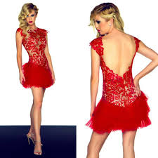 fancy asian red lace cocktail party dresses cap sleeve backless
