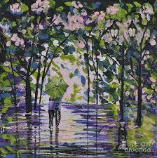 spring rain promenade painting by sally rice