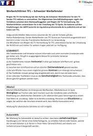 tf1 si e werberichtlinien tf1 schweizer werbefenster pdf