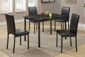 black marble dining table with 4 chairs by poundex model f2361