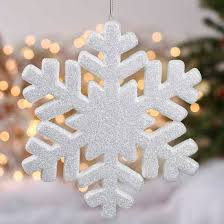 white glittered snowflake ornament ornaments