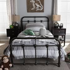 vintage industrial metal platform bed by baxton studio free