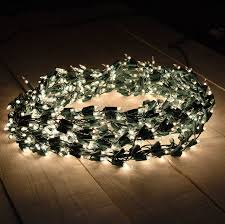 600 clear light cluster garland string light set green wire