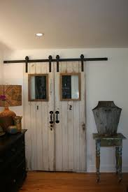 Double Barn Doors by White Wooden Double Barn Doors Completed With Small Glass Windows