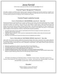Financial Services Resume Samples by Attractive Finance Program Management Professional Success Manager