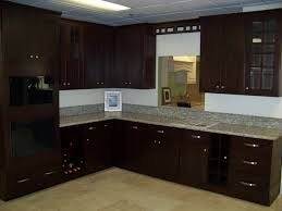 furniture wonderful espresso kitchen cabinets with gray mosaic