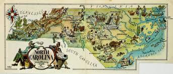 Map Of Carolinas North Carolina Pictorial Map 1946