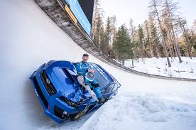 subaru winter subaru drives wrx sti on insane bobsleigh course