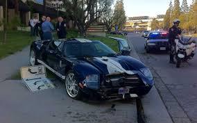 mclaren p1 crash police blotter ford gt crashes into motor trend hq