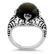 sterling gem rings images Sterling silver timeless gold obsidian gemstone ring png