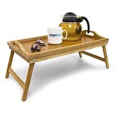 tablette pour canapé relaxdays plateau de lit pliable en bambou table d appoint pliante
