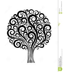 black tree in flower design with swirls and flouri stock photos