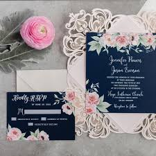 wedding invites gorgeous navy blue and blush pink floral watercolor wedding