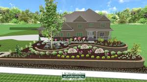 2 tiered retaining wall and landscape design using baltimore wall