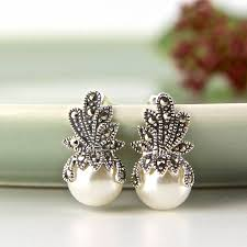 vintage earrings vintage style marcasite crown earrings by gama weddings