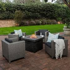 Square Firepit Puerta Outdoor 4 Wicker Chair Set With Square Firepit By
