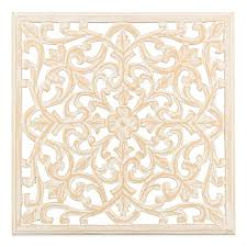 moroccan inspired 24 inch square decorative wood carved wall panel