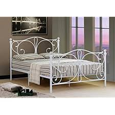 comfy living 4ft small double white metal bed frame with crystal