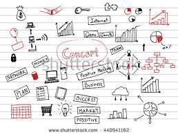 business startup doodle sketch concept set stock vector 211707826