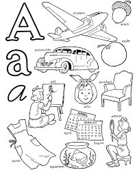 abc alphabet words coloring activity sheet letter airplane