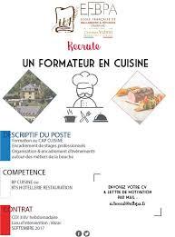 formateur en cuisine lettre de motivation cap cuisine luxe l efbpa recrute un formateur