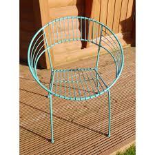 Metal Garden Chairs Ascalon Wire Bucket Chair Blue Vintage Retro Metal Frame