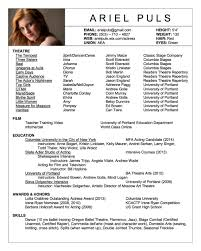 Movie Theater Resume Sample by Acting Resume Template Theatre Resume Technical Template Res