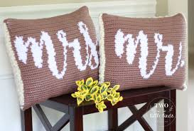 Mr And Mrs Home Decor by Home Decor Crochet Pattern Crochet Throw Pillow Crochet Pillow
