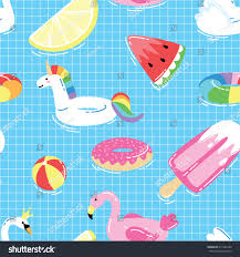 Seamless Pattern Summer Pool Floats Funny Stock Vector