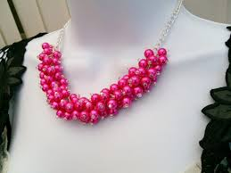 bead necklace pink images Hot pink pearl beaded necklace bridesmaid jewelry at awwake me jpg