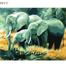 aliexpress com buy frameless elephant family picture oil