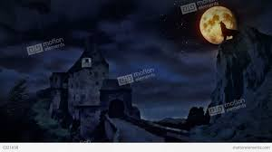 castle and a wolf howling at the moon stock animation 6321698