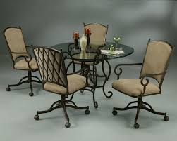 Poker Table Chairs With Casters by Pastel Atrium 5 Piece Caster Glass Dining Room Set In Autumn Rust