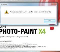 corel draw x4 error reading file product installation unsuccessful please reinstall error 24 corel
