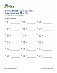 grade 5 fractions vs decimals worksheets free u0026 printable k5