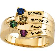 gold mothers ring engraved birthstone mothers ring in white or yellow gold