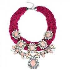 Antiqued Pink And Fuschia Beaded Search Tag Pink