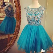 cap sleeve beaded crystals sequins short tulle turquoise blue