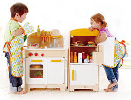 Toy Kitchen Set Wooden Amazon Com Hape Gourmet Kitchen Kid U0027s Wooden Play Kitchen In