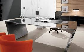 Glass Office Furniture Desk Office Modern Glass Office Desk And Black Mesh Back Executive