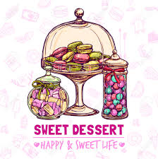 candy shop poster with sweets cookies and macarons sketch vector