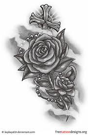 rose rosary and cross tattoo design new tats pinterest