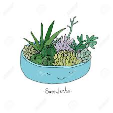 cute succulents cartoon cute succulents in pot hand drawing isolated objects